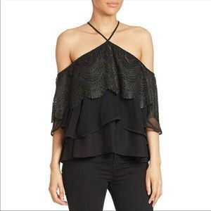 cinq a sept Fleur Tiered Lace Cold-Shoulder Top